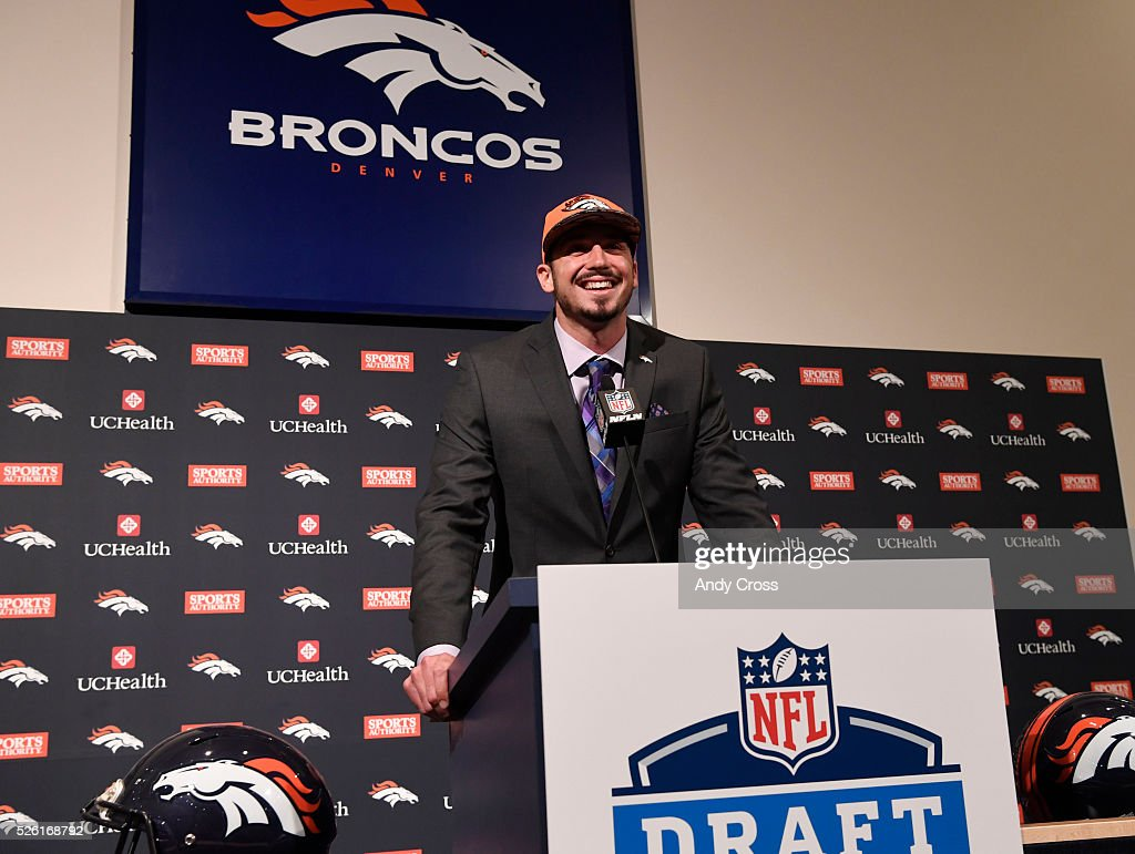 Denver Broncos first round pick QB Paxton Lynch during his introductory press conference at Broncos headquarters April 29, 2016.