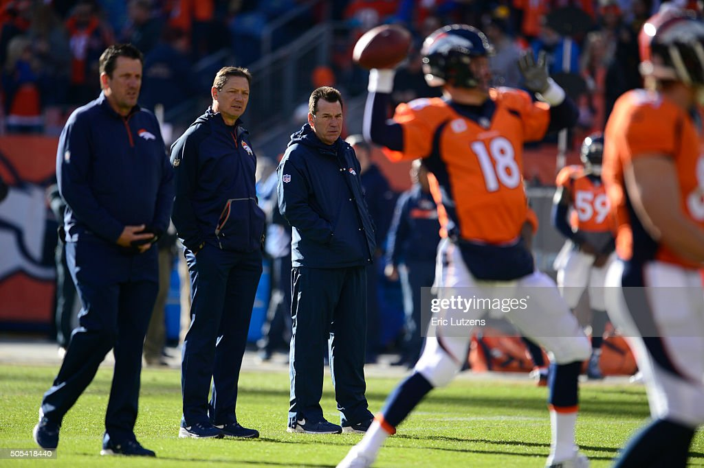 Denver Broncos from left <a gi-track='captionPersonalityLinkClicked' href=/galleries/search?phrase=Greg+Knapp&family=editorial&specificpeople=750404 ng-click='$event.stopPropagation()'>Greg Knapp</a>, quarterbacks coach, <a gi-track='captionPersonalityLinkClicked' href=/galleries/search?phrase=Rick+Dennison&family=editorial&specificpeople=749274 ng-click='$event.stopPropagation()'>Rick Dennison</a>, offensive coordinator and Denver Broncos head coach <a gi-track='captionPersonalityLinkClicked' href=/galleries/search?phrase=Gary+Kubiak&family=editorial&specificpeople=614731 ng-click='$event.stopPropagation()'>Gary Kubiak</a> watch <a gi-track='captionPersonalityLinkClicked' href=/galleries/search?phrase=Peyton+Manning&family=editorial&specificpeople=184524 ng-click='$event.stopPropagation()'>Peyton Manning</a> during warmups prior to the game against the Pittsburgh Steelers January 17, 2016 in the Divisional Round Playoff game at Sports Authority Field at Mile High Stadium.