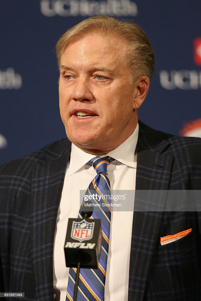 Denver Broncos General Manager John Elway fields questions from the media during a press conference to introduce Vance Josepf as the new head coach at the Paul D. Bowlen Memorial Broncos Centre on January 12, 2017 in Englewood, Colorado.