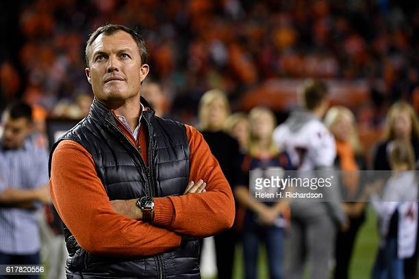 Denver Broncos great John Lynch is introduced to the Ring of Fame at halftime between the Broncos and the Houston Texans on Monday October 24 2016...