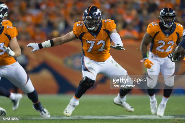 Denver Broncos guard Garett Bolles protects the quarterback during the Los Angeles Chargers vs Denver Broncos Monday Night Football game on September...