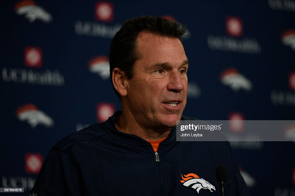 Denver Broncos head coach Gary Kubiak answers questions during his press conference after practice August 29 2016 at Dove Valley