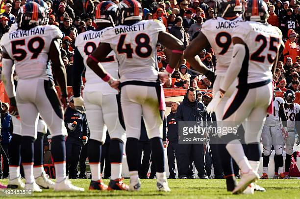 Denver Broncos head coach Gary Kubiak watching his defense in the second half vs the Cleveland Browns at FirstEnergy Stadium in Cleveland OH October...