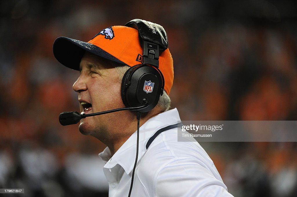 Denver Broncos head coach John Fox on the sidelines in the first quarter. The Denver Broncos took on the Baltimore Ravens in the first game of the 2013 season at Sports Authority Field at Mile High in Denver on September 5, 2013.