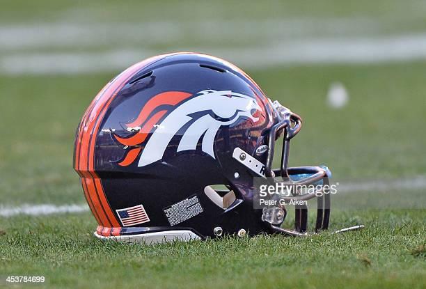 Denver Broncos helmet before a game against the Kansas City Chiefs on December 1 2013 at Arrowhead Stadium in Kansas City Missouri