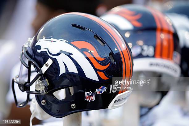 Denver Broncos helmet on the sidelines during their preseason NFL game against the San Francisco 49ers at Candlestick Park on August 8 2013 in San...