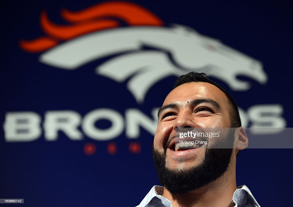 Denver Broncos introduced Louis Vasquez at Dove Valley. March 14, 2013. Denver, Colorado. Vasquez, ex-Chargers guard, agreed to 4-year deal with Broncos.