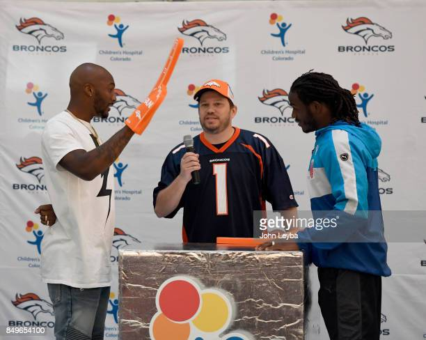 Denver Broncos Jamaal Charles goes head to head with Aqib Talilb on September 19 2017 during the Childrens Hospital Colorado employees game of Family...