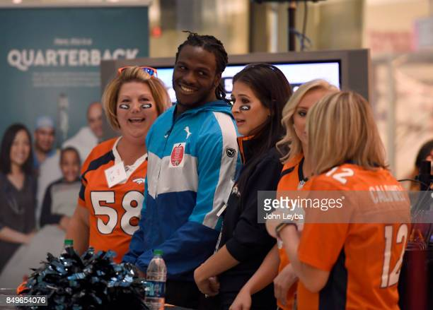 Denver Broncos Jamaal Charles with his team as they get ready to compete with Aqib Talib and his team on September 19 2017 during the Childrens...