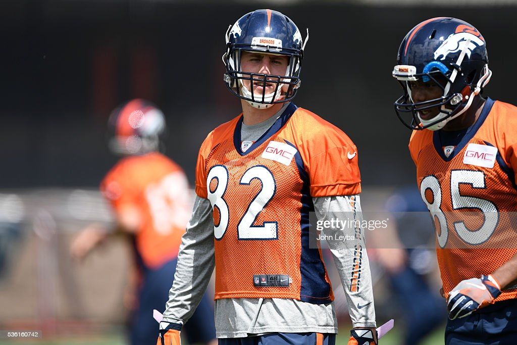 Denver Broncos <a gi-track='captionPersonalityLinkClicked' href=/galleries/search?phrase=Jeff+Heuerman&family=editorial&specificpeople=8696605 ng-click='$event.stopPropagation()'>Jeff Heuerman</a> (82) looks on during OTA's May 31, 2016 at UCHealth Training Facility, Dove Valley.