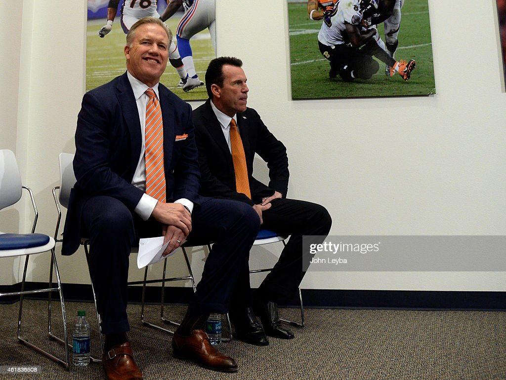 Denver Broncos <a gi-track='captionPersonalityLinkClicked' href=/galleries/search?phrase=John+Elway&family=editorial&specificpeople=204173 ng-click='$event.stopPropagation()'>John Elway</a>, General Manager and Executive Vice President of Football Operations was all smiles during press conference introducing <a gi-track='captionPersonalityLinkClicked' href=/galleries/search?phrase=Gary+Kubiak&family=editorial&specificpeople=614731 ng-click='$event.stopPropagation()'>Gary Kubiak</a> as the new head coach January 20, 2015 at Dove Valley. Cubic becomes the 15th head coach in franchise history.