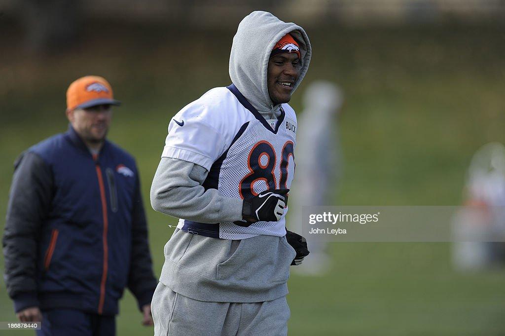Denver Broncos Julius Thomas gets in a jog during during practice November 4, 2013 at Dove Valley.