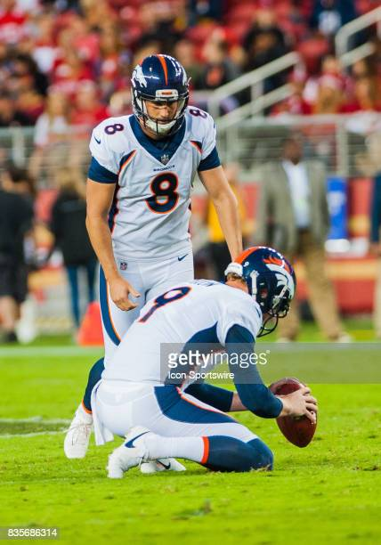 Denver Broncos kicker Brandon McManus gets set to kick a field goal in the first half during the preseason game between San Francisco 49ers verses...
