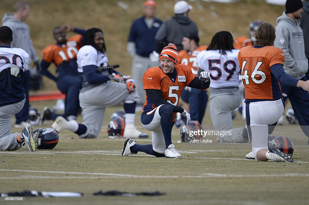 Denver Broncos kicker <a gi-track='captionPersonalityLinkClicked' href=/galleries/search?phrase=Matt+Prater&family=editorial&specificpeople=4408897 ng-click='$event.stopPropagation()'>Matt Prater</a> (5) smiles as he stretches before practice January 15, 2014 at Dove Valley. The Broncos are preparing for their game against the New England Patriots in the AFC championship game.