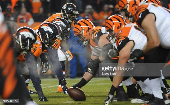Denver Broncos linebacker DeMarcus Ware eyes the ball at the line of scrimmage in the second quarter Monday December 28 2015 at Sports Authority...