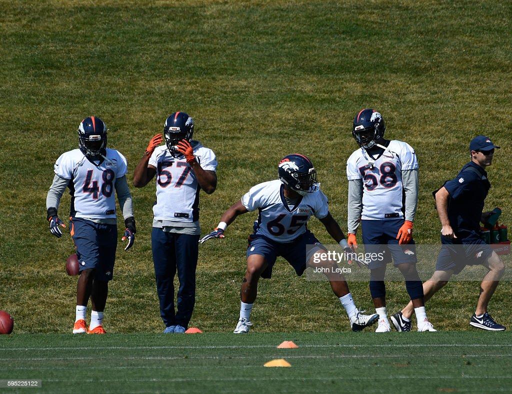 Denver Broncos linebacker Eddie Yarbrough runs through drills during practice August 26 2016 at Dove Valley