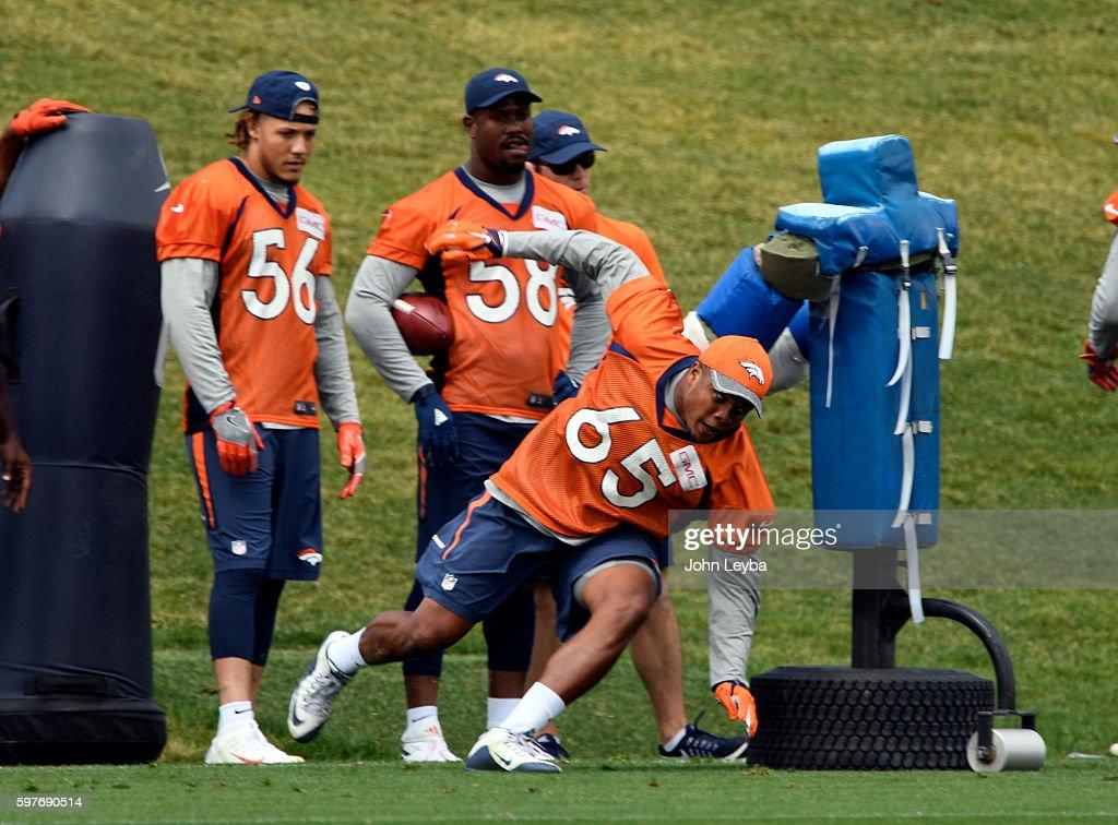 Denver Broncos linebacker Eddie Yarbrough runs through drills during practice August 29 2016 at Dove Valley