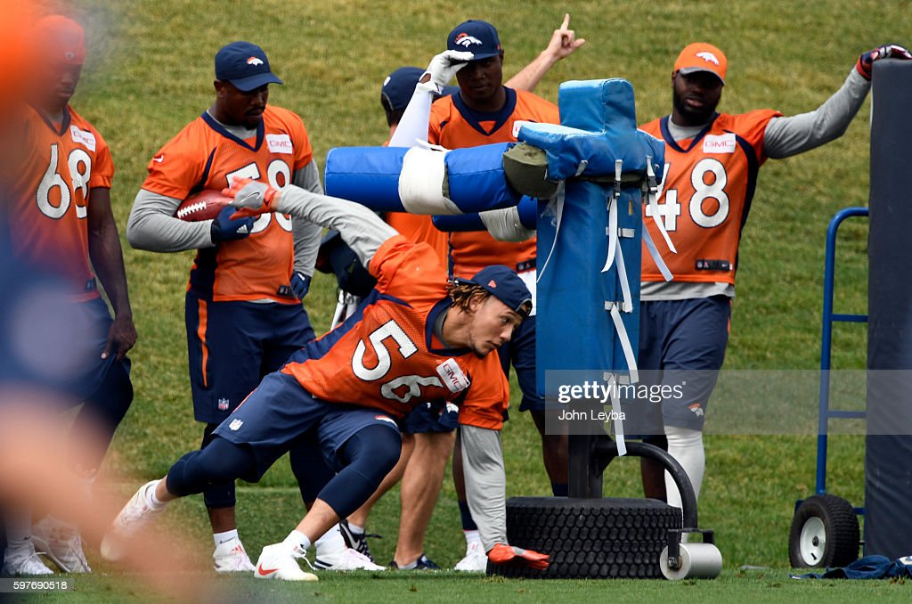 Denver Broncos linebacker Shane Ray runs through drills during practice August 29 2016 at Dove Valley