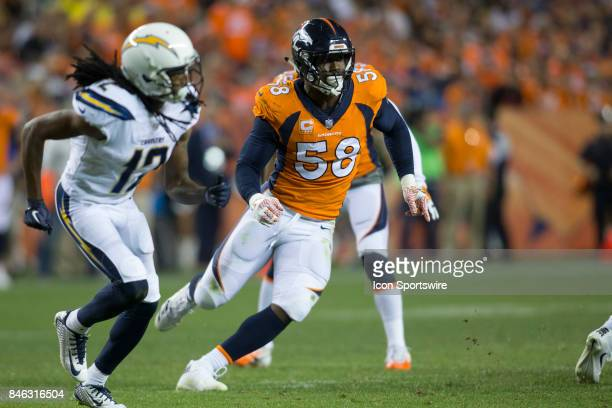 Denver Broncos linebacker Von Miller looks to make the tackle during the Los Angeles Chargers vs Denver Broncos Monday Night Football game on...