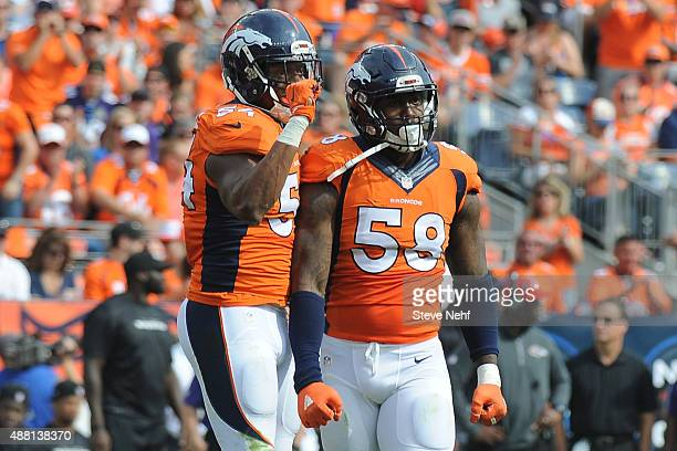 Denver Broncos linebackers Von Miller and Brandon Marshall muscled up against Baltimore Ravens at Sports Authority Field at Mile High on September 13...