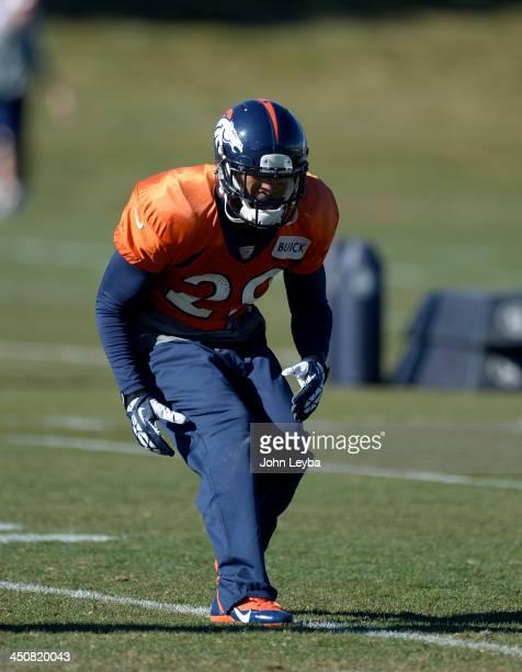 Denver Broncos Michael Huff runs through drills during practice November 20 2013 at Dove Valley