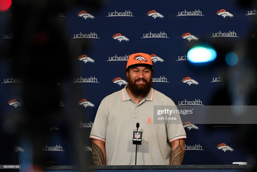 Denver Broncos nose tackle Domata Peko addressed the media during a press conference on March 13, 2017 in Denver, Colorado at Dove Valley. Peko agreed to terms with the club on a two-year contract.