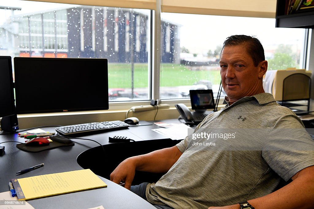 Denver Broncos offensive coach Rick Dennison at his desk August 24 2016 at Dove Valley