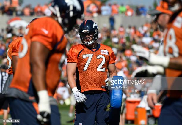 Denver Broncos offensive tackle Garett Bolles during drills on today two of training camp at Dove Valley July 28 2017
