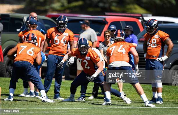 Denver Broncos offensive tackle Garett Bolles runs through drills during mandatory mini camp on June 13 2017 in Denver Colorado at Dove Valley
