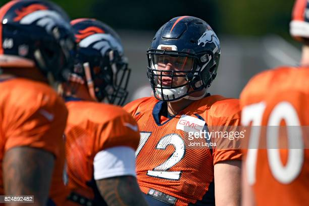 Denver Broncos offensive tackle Garett Bolles watches drills during training camp on July 31 2017 in Englewood Colorado at Dove Valley