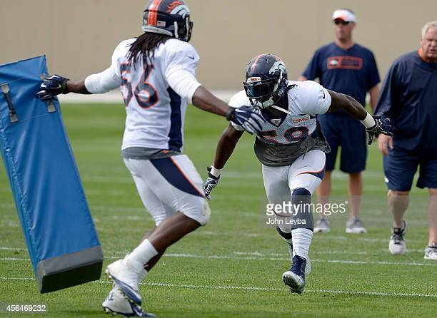 Denver Broncos outside linebacker Danny Trevathan prepares to hit the blocking pad that Denver Broncos middle linebacker Nate Irving is holding...