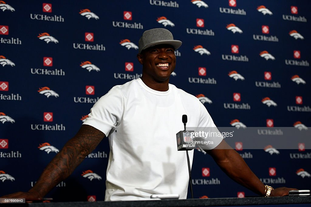 Denver Broncos outside linebacker DeMarcus Ware addresses the media after practice August 29 2016 at Dove Valley