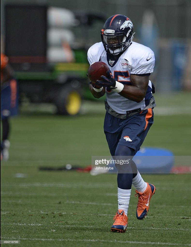 Denver Broncos outside linebacker <a gi-track='captionPersonalityLinkClicked' href=/galleries/search?phrase=Lerentee+McCray&family=editorial&specificpeople=7418300 ng-click='$event.stopPropagation()'>Lerentee McCray</a> (55) catches a pass in drills during practice August 26, 2014 at Dove Valley.