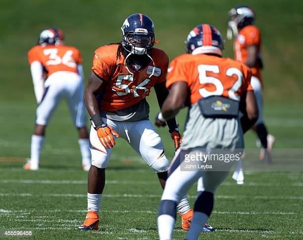Denver Broncos outside linebacker Nate Irving runs through drills during practice September 17 2014 at Dove Valley