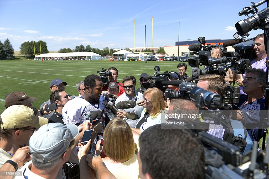 Denver Broncos outside linebacker Von Miller (58) talks with the media after practice August 20, 2013 at Dove Valley. The discipline of the Broncos' star linebacker are expected to continue Tuesday.