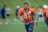 Denver Broncos Owen Daniels TE heads to drills during practice at mini camp June 11 2015 at Dove Valley