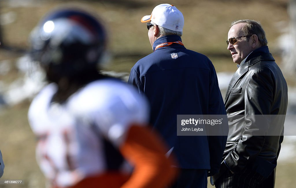 Denver Broncos owner <a gi-track='captionPersonalityLinkClicked' href=/galleries/search?phrase=Pat+Bowlen&family=editorial&specificpeople=749424 ng-click='$event.stopPropagation()'>Pat Bowlen</a> talks with Denver Broncos head coach <a gi-track='captionPersonalityLinkClicked' href=/galleries/search?phrase=John+Fox+-+Coach&family=editorial&specificpeople=206657 ng-click='$event.stopPropagation()'>John Fox</a> during practice January 8, 2014 at Dove Valley
