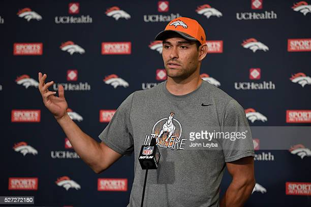 Denver Broncos QB Mark Sanchez addresses the media during a press conference May 2 2016 at UCHealth Training Facility as part of the offseason...