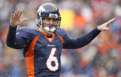 Denver Broncos quarterback Jay Cutler in action during the game between the Bengals and the Denver Broncos played at Invesco Field at Mile High in...