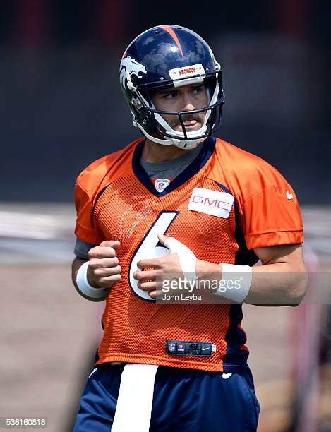 Denver Broncos quarterback Mark Sanchez looks on during OTA's May 31 2016 at UCHealth Training Facility Dove Valley