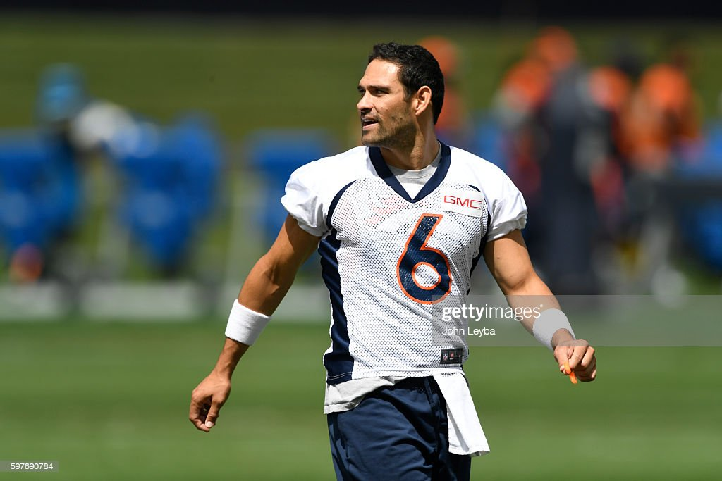 Denver Broncos quarterback Mark Sanchez looks on during practice August 29 2016 at Dove Valley