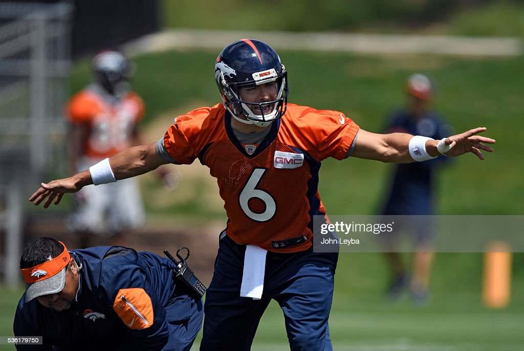 Denver Broncos quarterback <a gi-track='captionPersonalityLinkClicked' href=/galleries/search?phrase=Mark+Sanchez&family=editorial&specificpeople=690406 ng-click='$event.stopPropagation()'>Mark Sanchez</a> (6) running drills during OTA's May 31, 2016 at UCHealth Training Facility, Dove Valley.