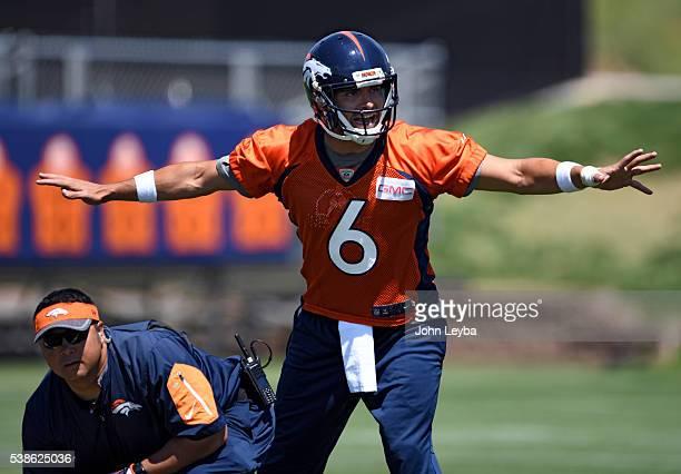 Denver Broncos quarterback Mark Sanchez runs drills in practice at UCHealth Training Facility during mandatory minicamp June 7 2016 at Dove Valley