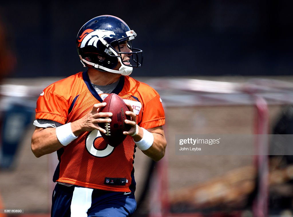 Denver Broncos quarterback <a gi-track='captionPersonalityLinkClicked' href=/galleries/search?phrase=Mark+Sanchez&family=editorial&specificpeople=690406 ng-click='$event.stopPropagation()'>Mark Sanchez</a> (6) runs through drills during OTA's May 31, 2016 at UCHealth Training Facility, Dove Valley.