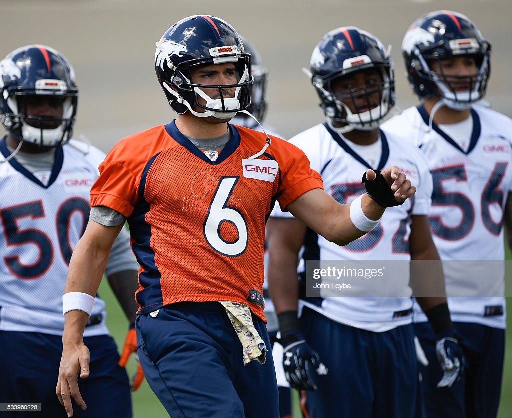 Denver Broncos quarterback <a gi-track='captionPersonalityLinkClicked' href=/galleries/search?phrase=Mark+Sanchez&family=editorial&specificpeople=690406 ng-click='$event.stopPropagation()'>Mark Sanchez</a> (6) stretches during OTA's May 24, 2016 at UCHealth Training Facility.