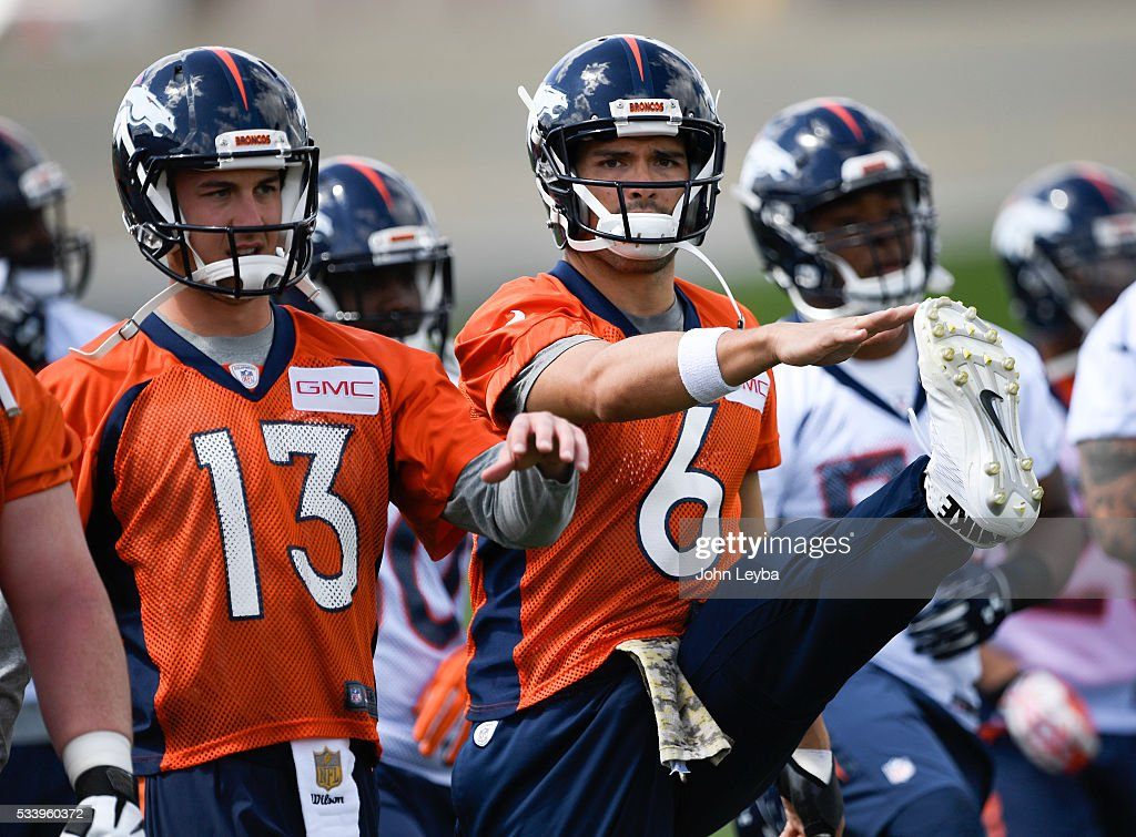 Denver Broncos quarterback Mark Sanchez (6) stretches during OTA's May 24, 2016 at UCHealth Training Facility.