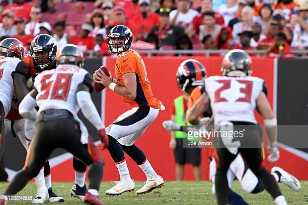 Denver Broncos quarterback Paxton Lynch looking down field for Denver Broncos wide receiver Emmanuel Sanders against the Tampa Bay Buccaneers at...