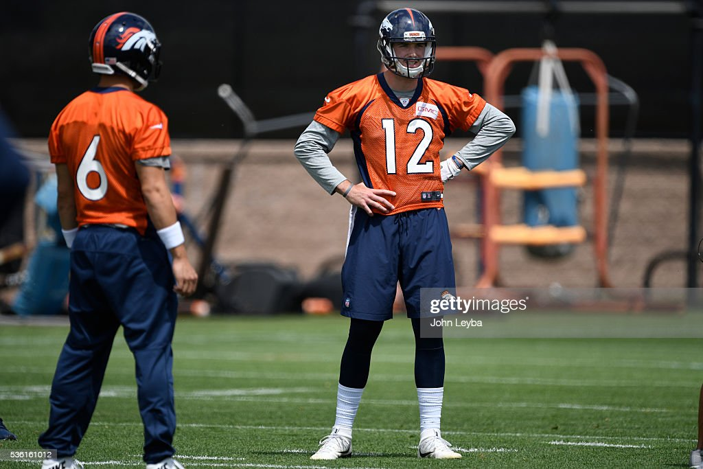 Denver Broncos quarterback <a gi-track='captionPersonalityLinkClicked' href=/galleries/search?phrase=Paxton+Lynch&family=editorial&specificpeople=11353849 ng-click='$event.stopPropagation()'>Paxton Lynch</a> (12) looks on during OTA's May 31, 2016 at UCHealth Training Facility, Dove Valley.