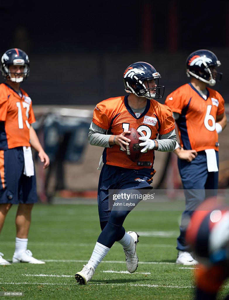 Denver Broncos quarterback <a gi-track='captionPersonalityLinkClicked' href=/galleries/search?phrase=Paxton+Lynch&family=editorial&specificpeople=11353849 ng-click='$event.stopPropagation()'>Paxton Lynch</a> (12) runs through drills during OTA's May 31, 2016 at UCHealth Training Facility, Dove Valley.