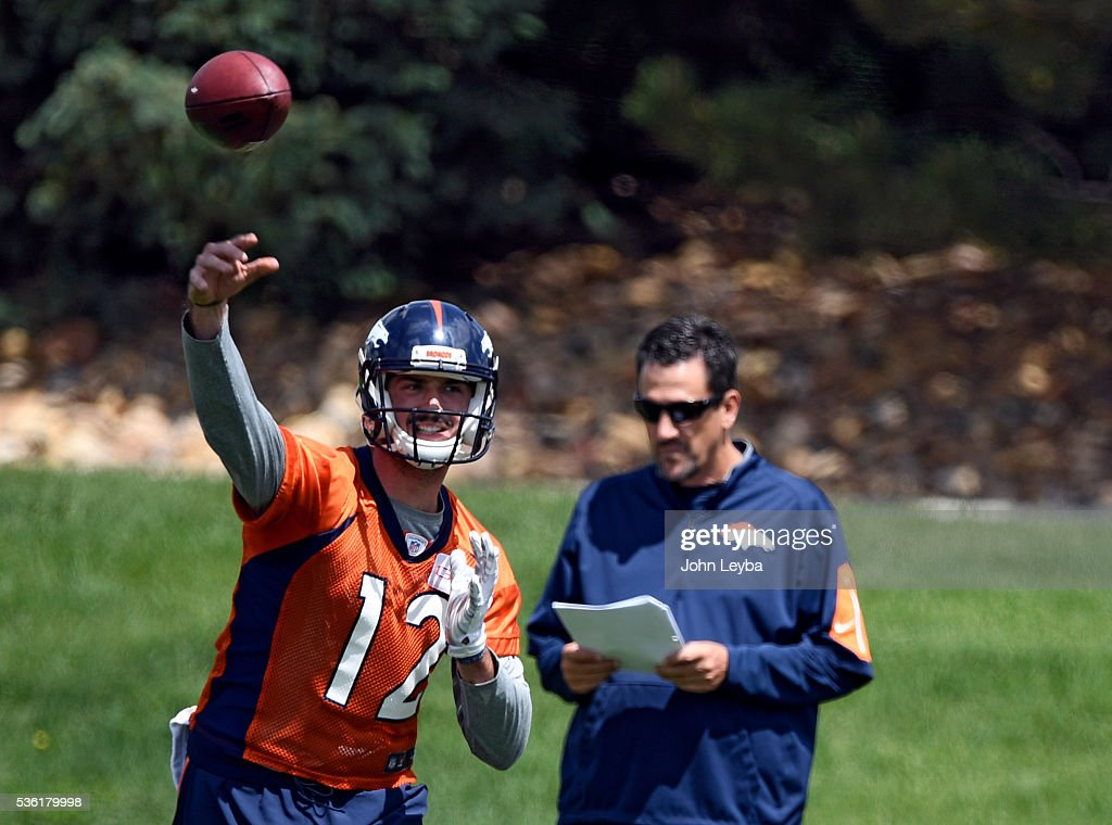 Denver Broncos quarterback <a gi-track='captionPersonalityLinkClicked' href=/galleries/search?phrase=Paxton+Lynch&family=editorial&specificpeople=11353849 ng-click='$event.stopPropagation()'>Paxton Lynch</a> (12) throws a pass during OTA's May 31, 2016 at UCHealth Training Facility, Dove Valley.